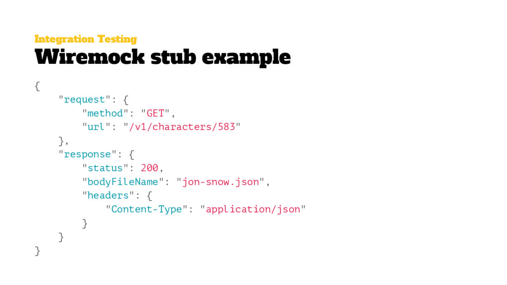 "Integration Testing Wiremock stub example { ""re..."