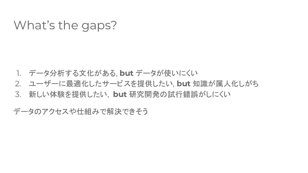 What's the gaps? 1. データ分析する文化がある, but データが使いにくい...