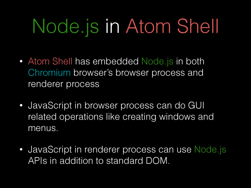 Node.js in Atom Shell • Atom Shell has embedded...