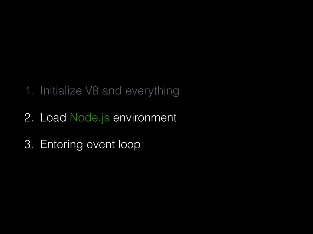 1. Initialize V8 and everything 2. Load Node.js...