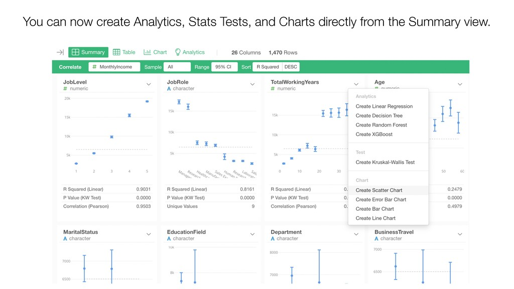 You can now create Analytics, Stats Tests, and ...