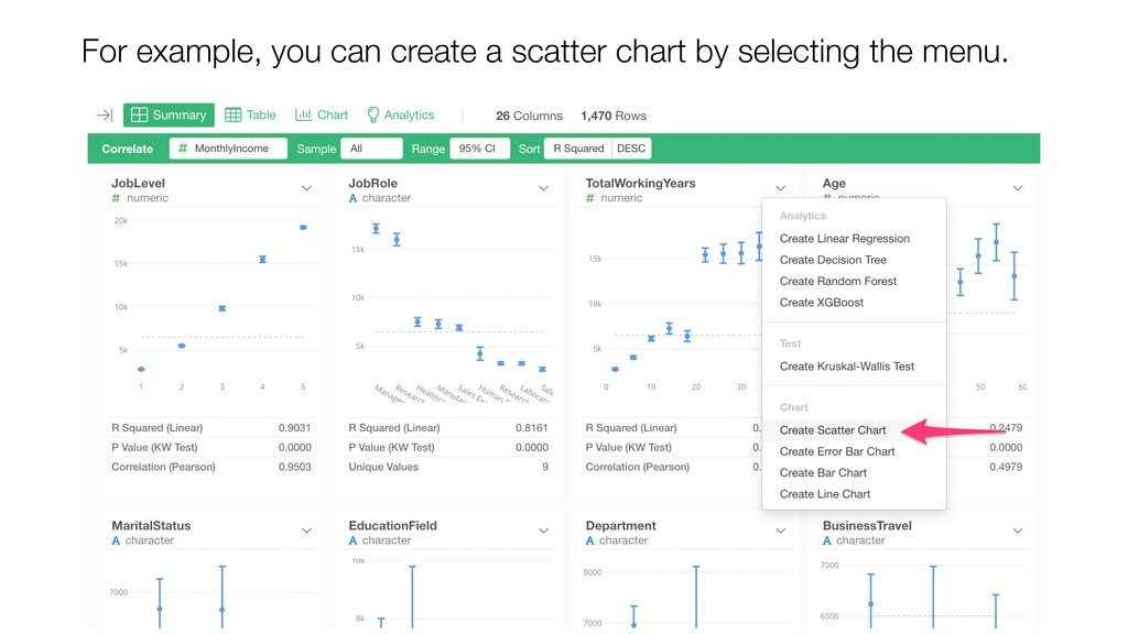 For example, you can create a scatter chart by ...