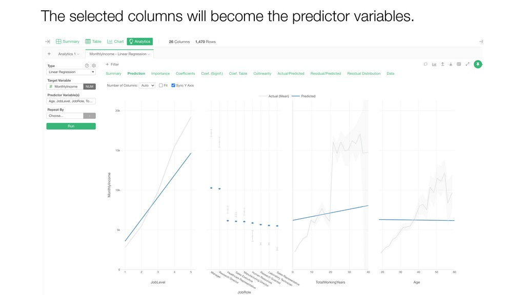 The selected columns will become the predictor ...