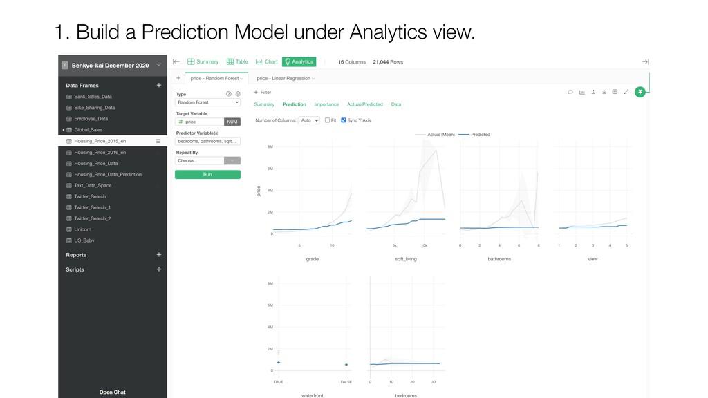 1. Build a Prediction Model under Analytics vie...