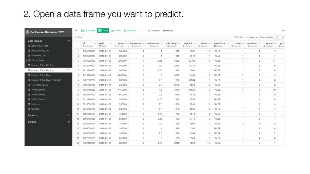 2. Open a data frame you want to predict.