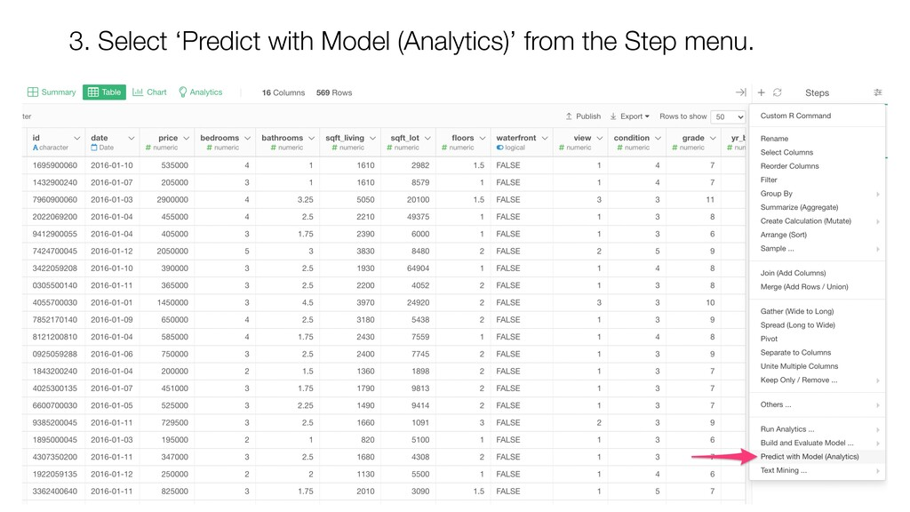 3. Select 'Predict with Model (Analytics)' from...