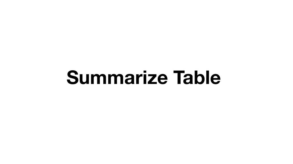 Summarize Table