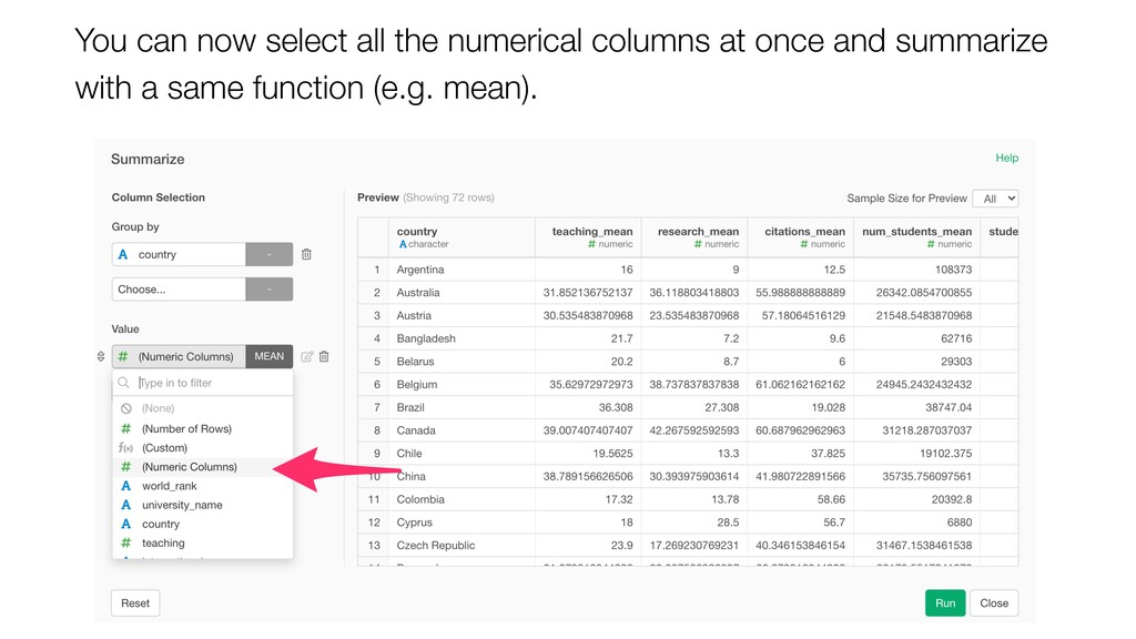 You can now select all the numerical columns at...