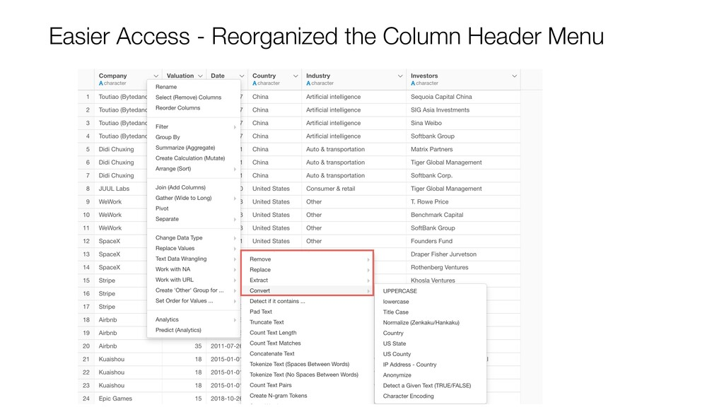 Easier Access - Reorganized the Column Header M...