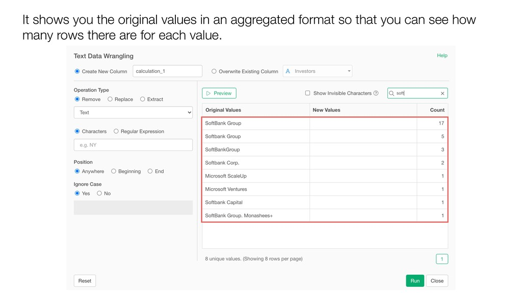 It shows you the original values in an aggregat...