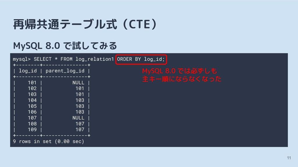 再帰共通テーブル式(CTE) MySQL 8.0 で試してみる 11 mysql> SELEC...