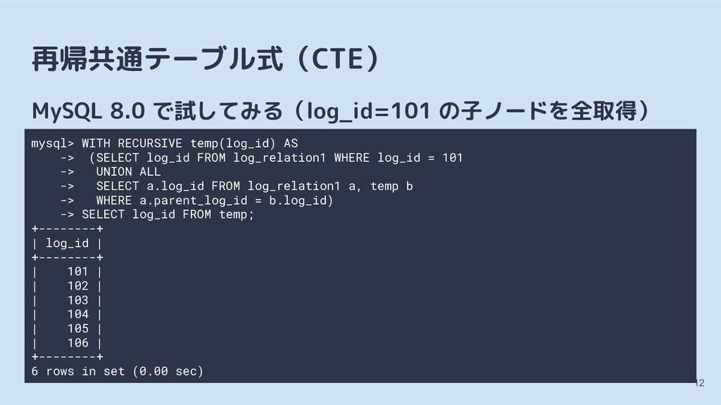 再帰共通テーブル式(CTE) MySQL 8.0 で試してみる(log_id=101 の子ノー...