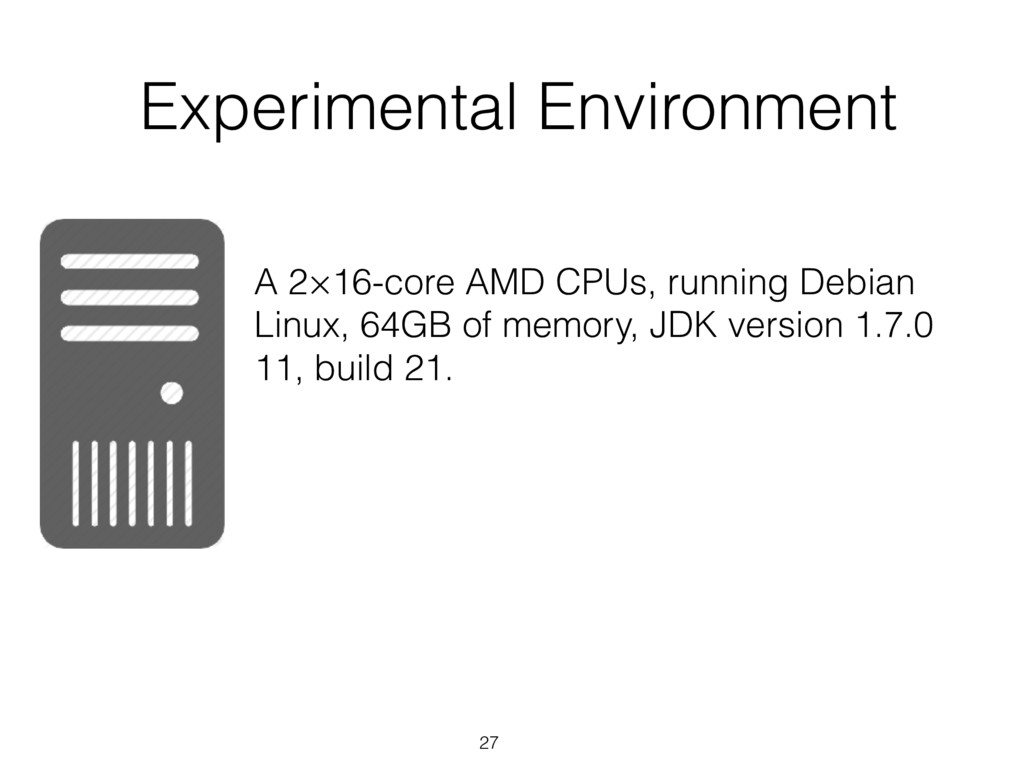 27 Experimental Environment A 2×16-core AMD CPU...