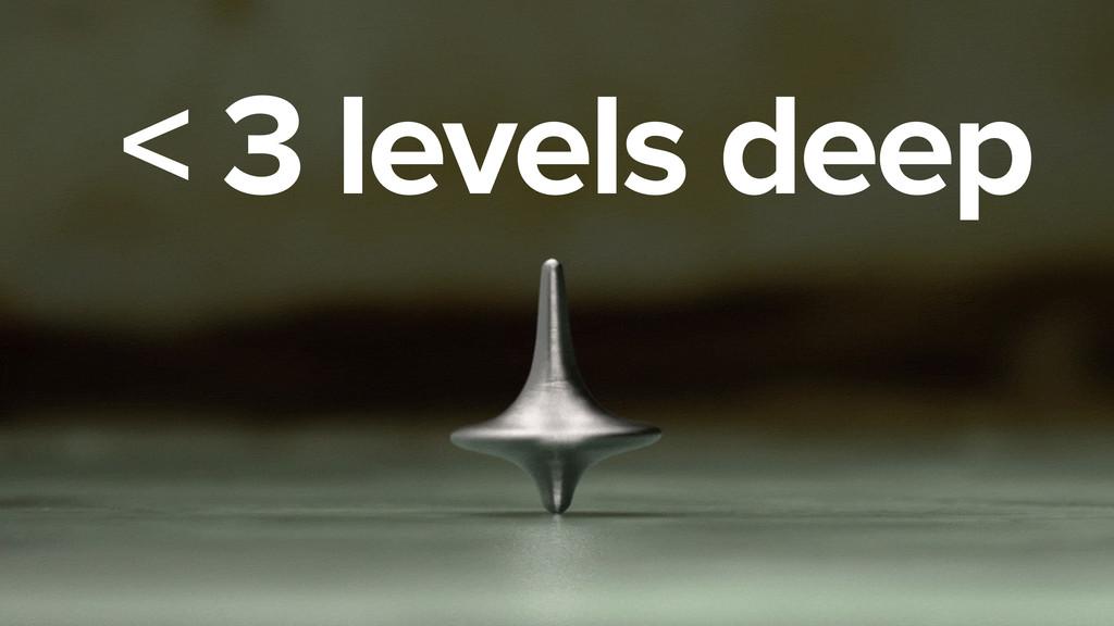 < 3 levels deep