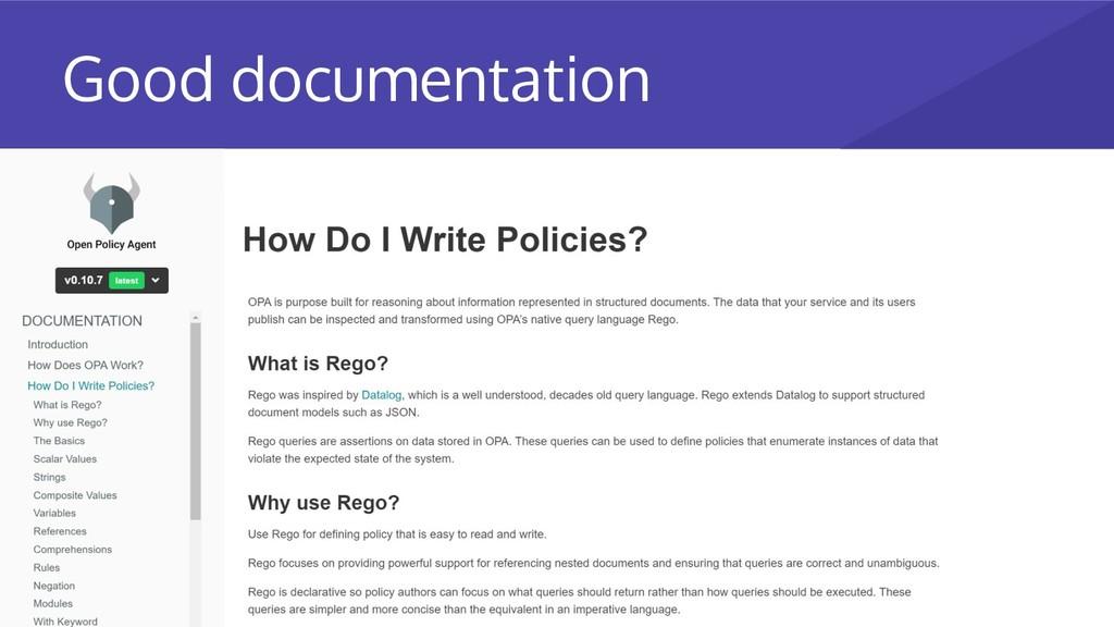 Good documentation