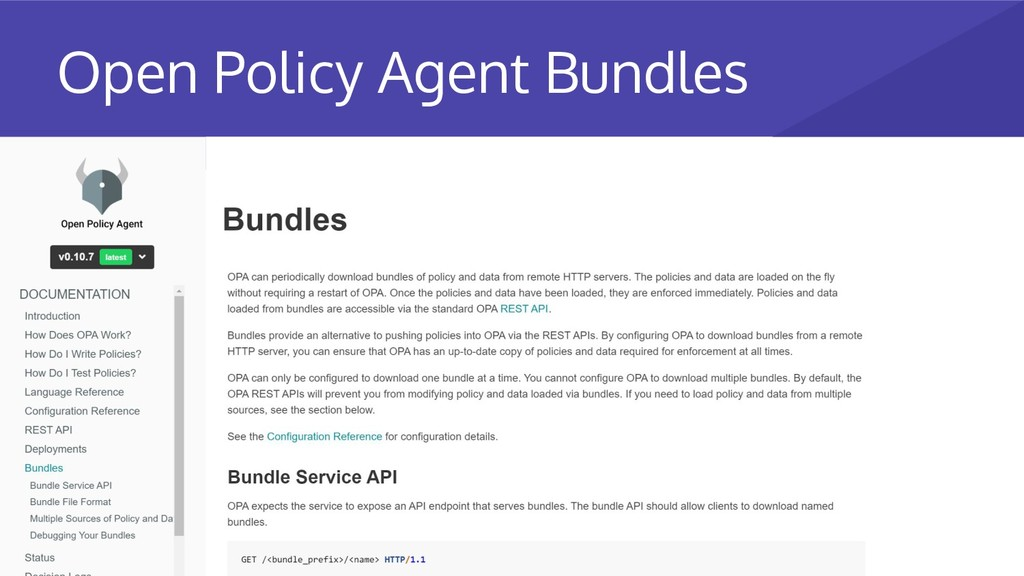 Open Policy Agent Bundles