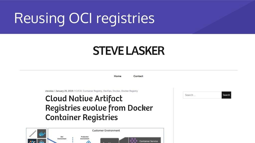 Reusing OCI registries