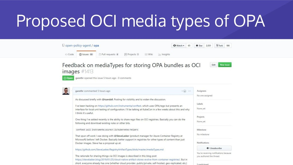 Proposed OCI media types of OPA