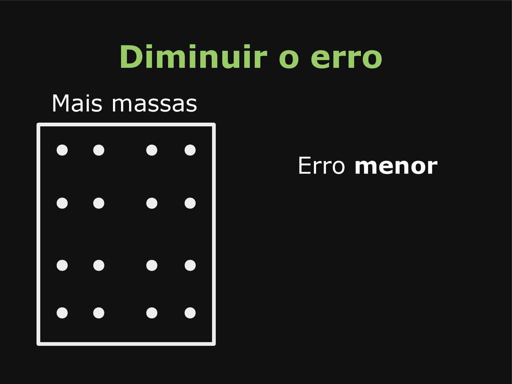Mais massas Erro menor Diminuir o erro