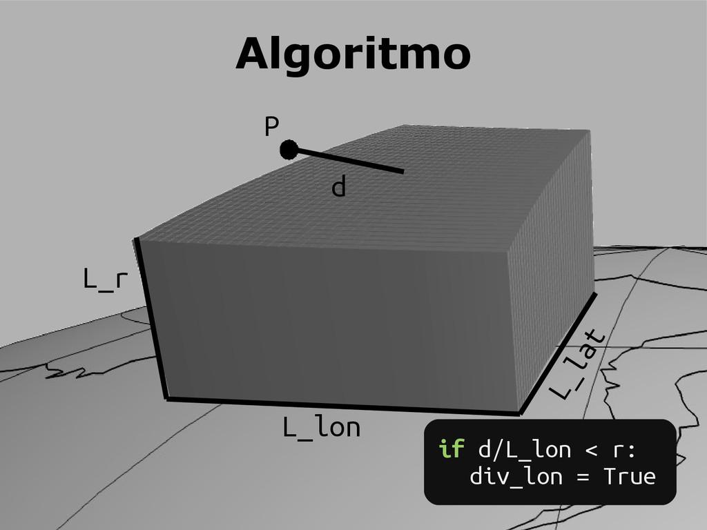 P d L_lon L_lat L_r Algoritmo if d/L_lon < r: d...