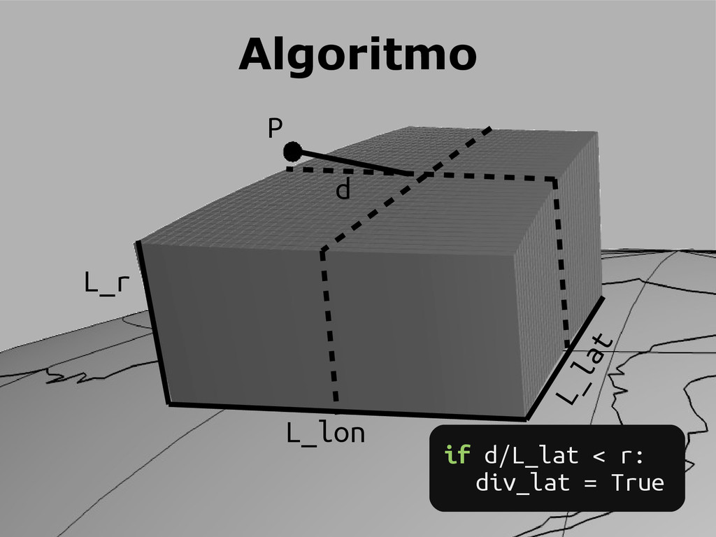 P d L_lon L_lat L_r Algoritmo if d/L_lat < r: d...