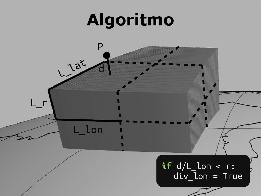 P L_lon L_lat L_r Algoritmo if d/L_lon < r: div...