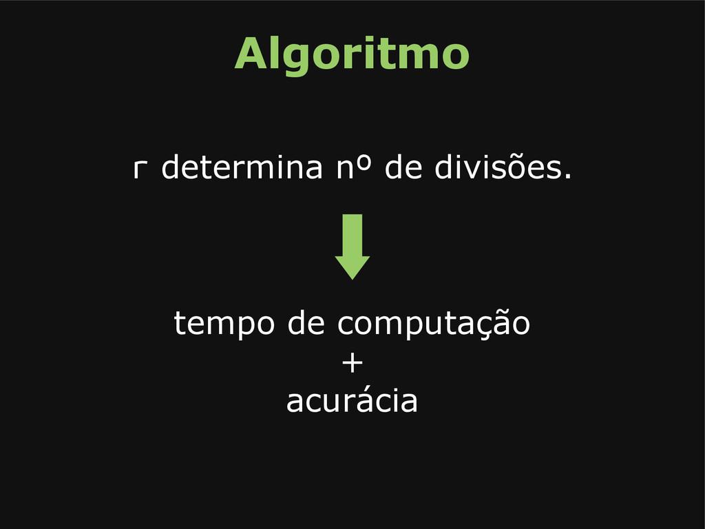 Algoritmo r determina nº de divisões. tempo de ...