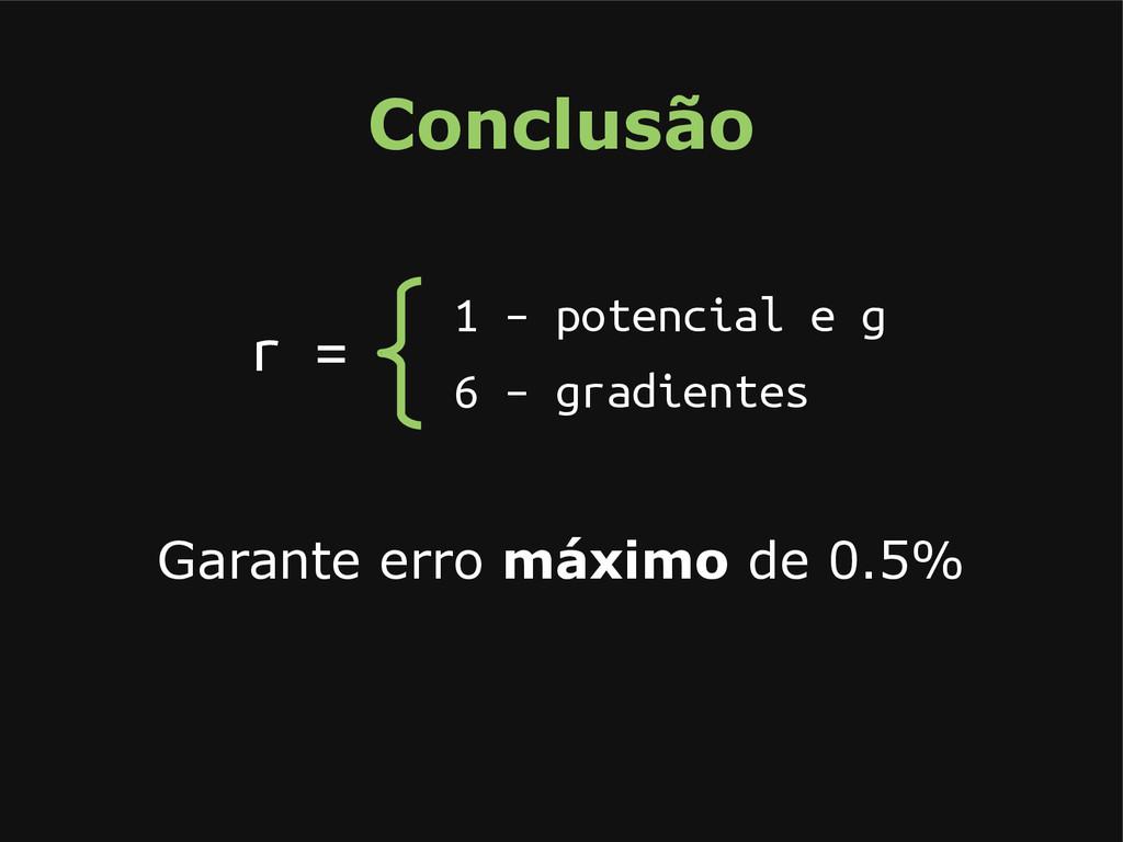 Conclusão Garante erro máximo de 0.5% r = 1 – p...