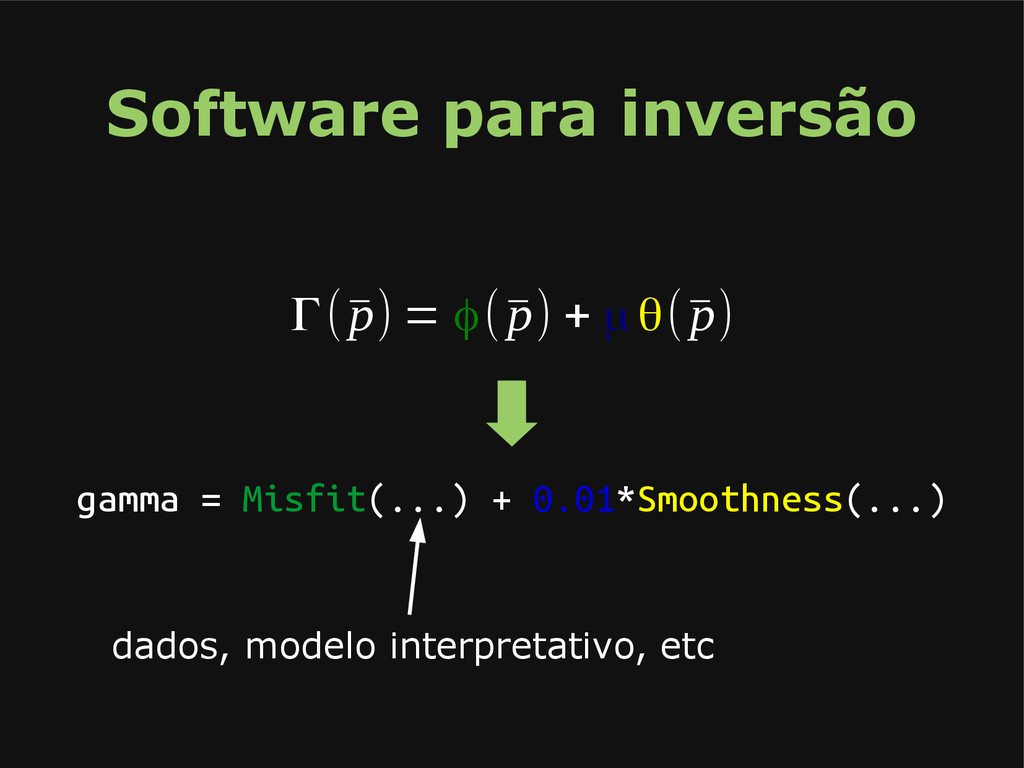 Software para inversão Γ(¯ p) = φ(¯ p) + μθ(¯ p...