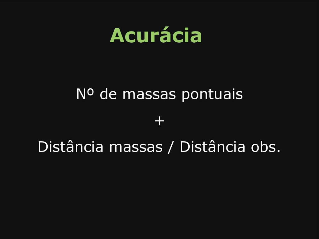 Acurácia Nº de massas pontuais + Distância mass...