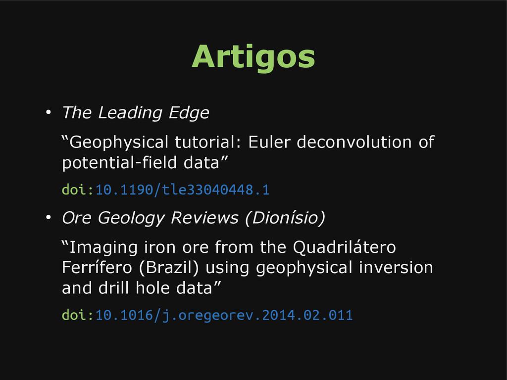 """Artigos ● The Leading Edge """"Geophysical tutoria..."""