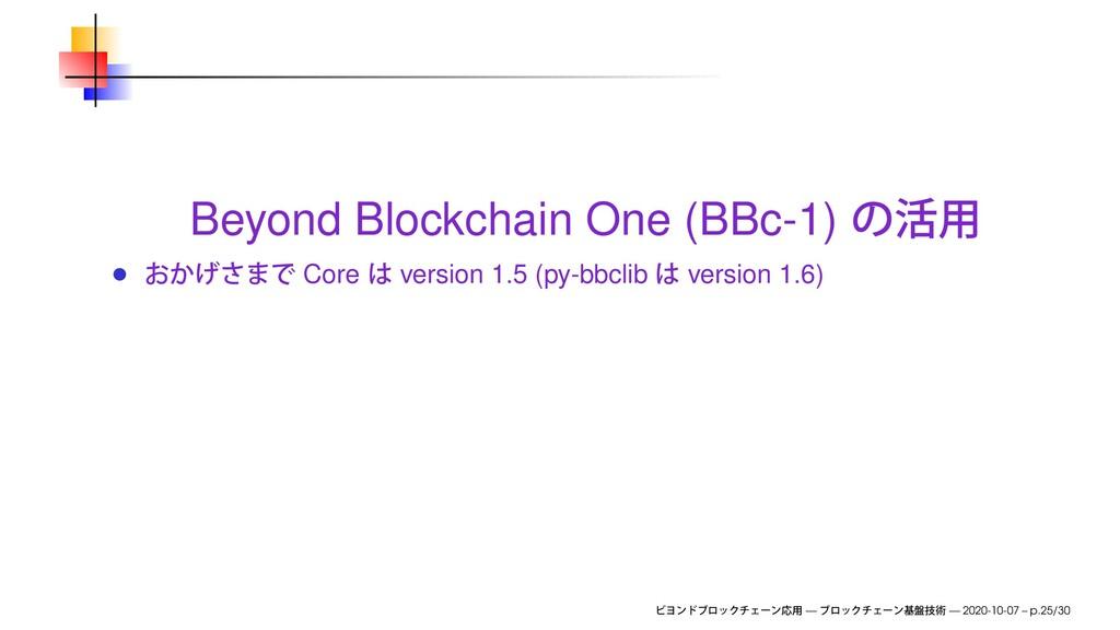 Beyond Blockchain One (BBc-1) Core version 1.5 ...