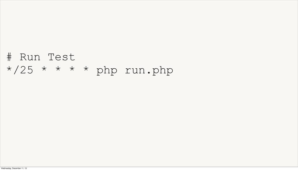 # Run Test */25 * * * * php run.php Wednesday, ...