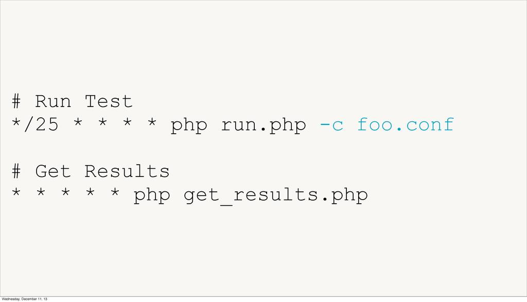 # Run Test */25 * * * * php run.php -c foo.conf...