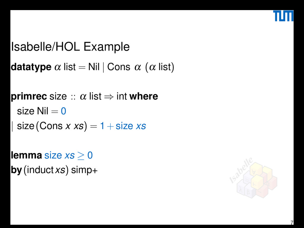 Isabelle/HOL Example datatype α list = Nil | Co...