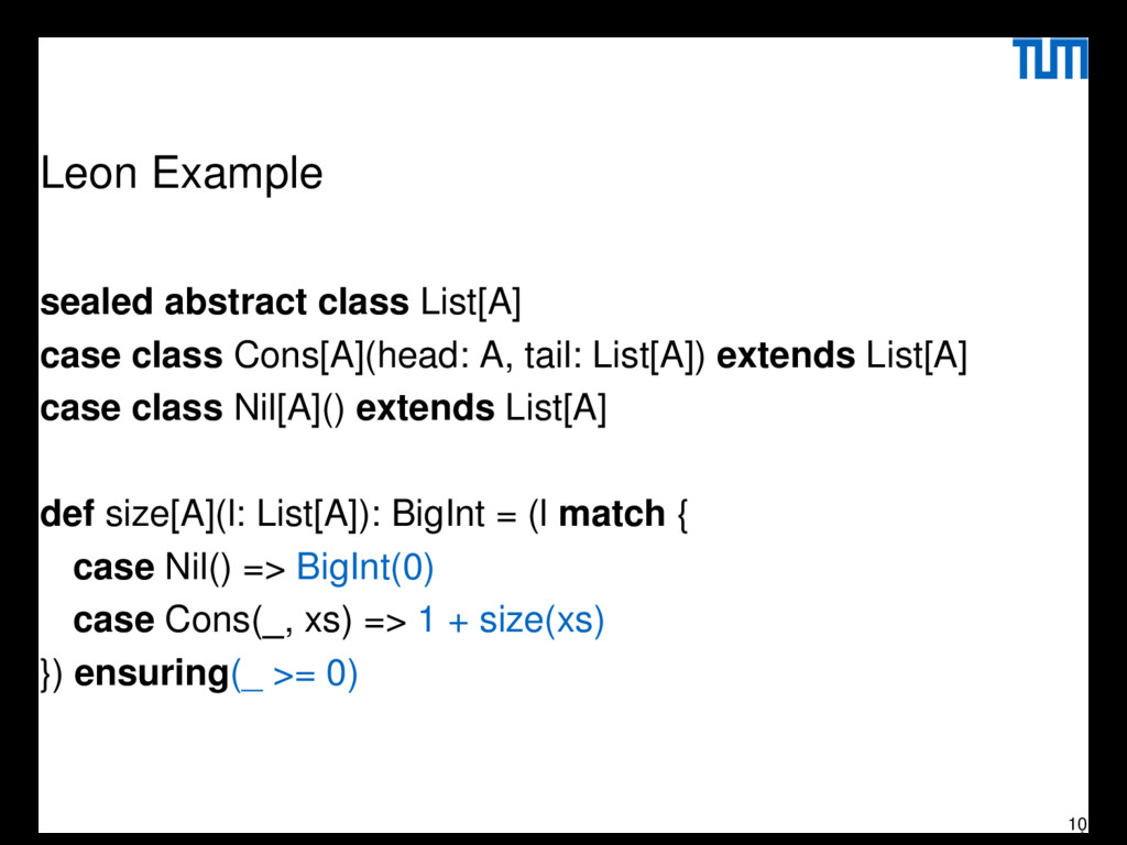 Leon Example sealed abstract class List[A] case...