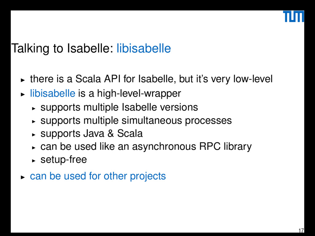 Talking to Isabelle: libisabelle there is a Sca...