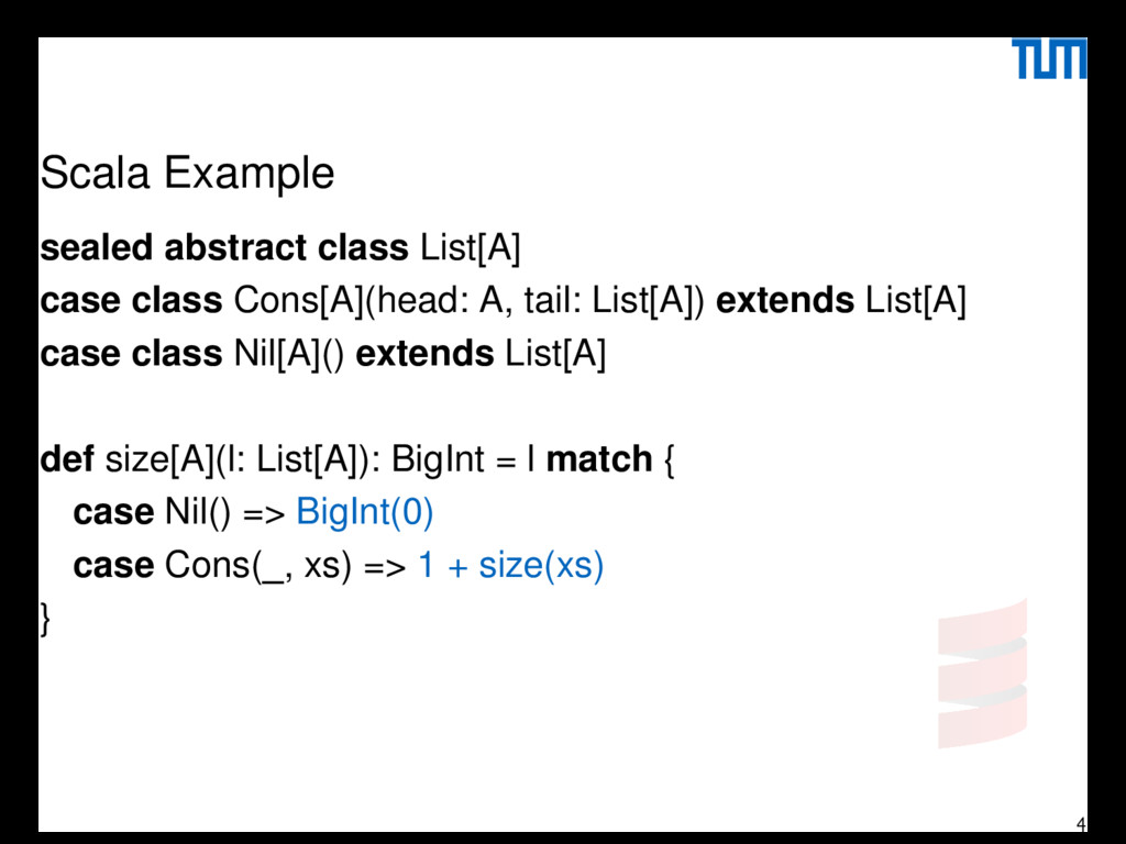 Scala Example sealed abstract class List[A] cas...