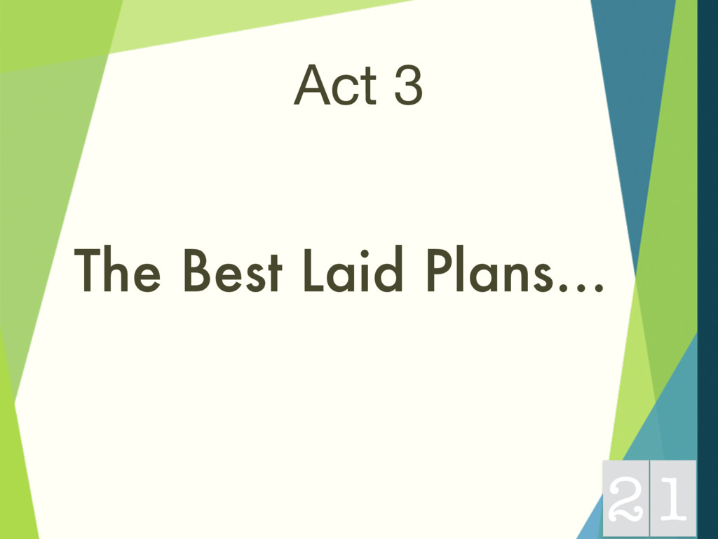 Act 3 The Best Laid Plans… 21