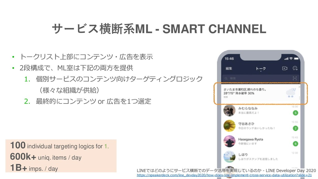 サービス横断系ML - SMART CHANNEL • トークリスト上部にコンテンツ・広告を表...