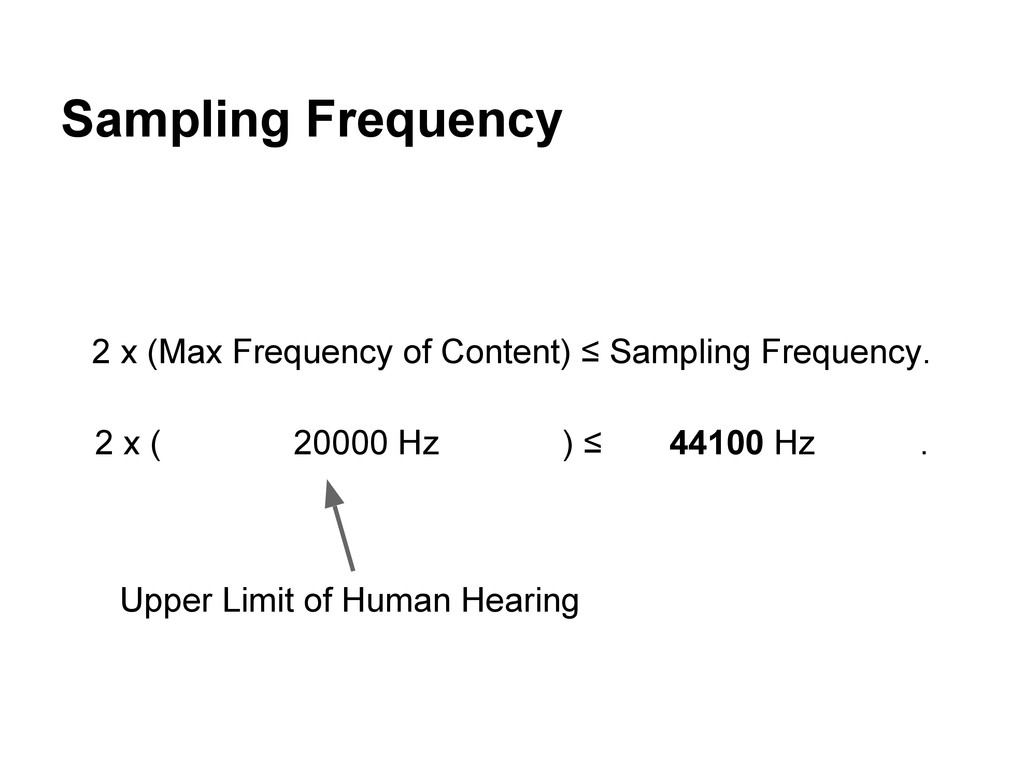 Sampling Frequency 2 x (Max Frequency of Conten...