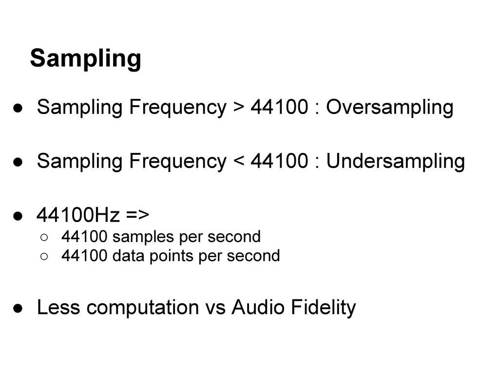 Sampling ● Sampling Frequency > 44100 : Oversam...