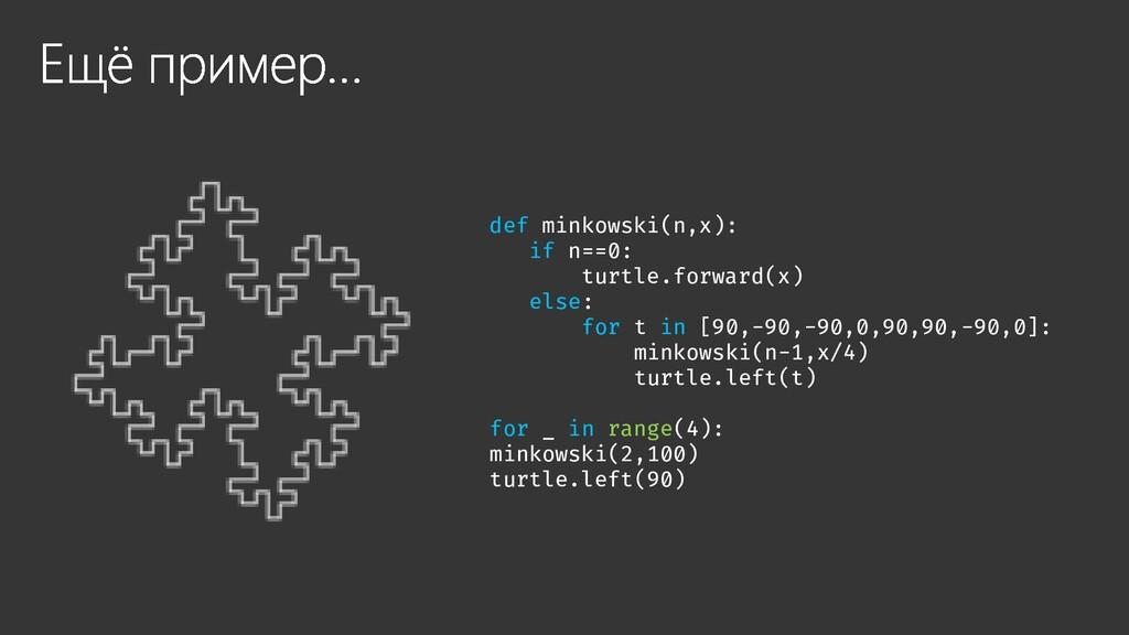 def minkowski(n,x): if n==0: turtle.forward(x) ...