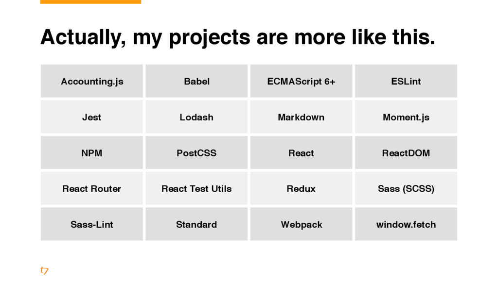 Actually, my projects are more like this. Accou...