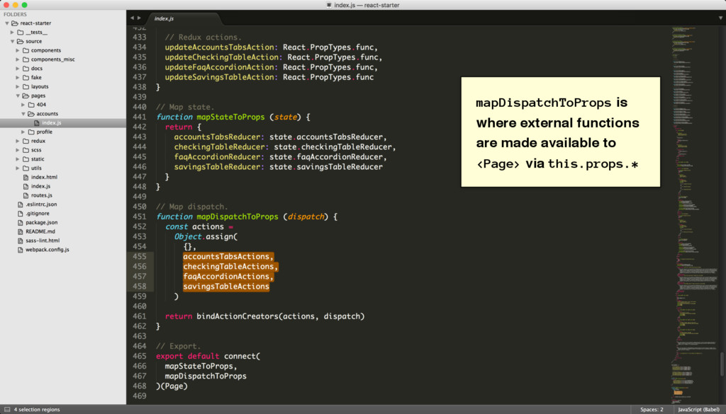 mapDispatchToProps is where external functions ...