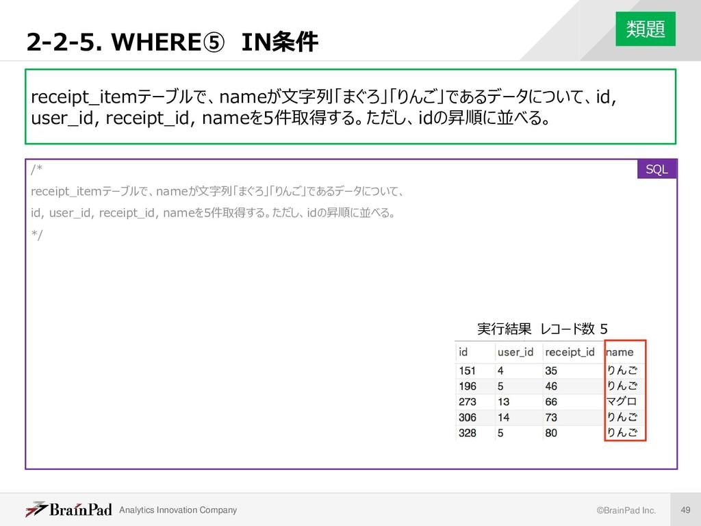 Analytics Innovation Company ©BrainPad Inc. 49 ...