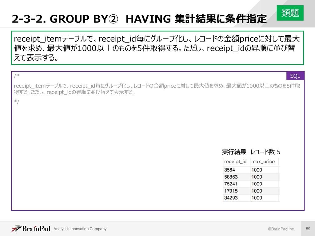 Analytics Innovation Company ©BrainPad Inc. 59 ...