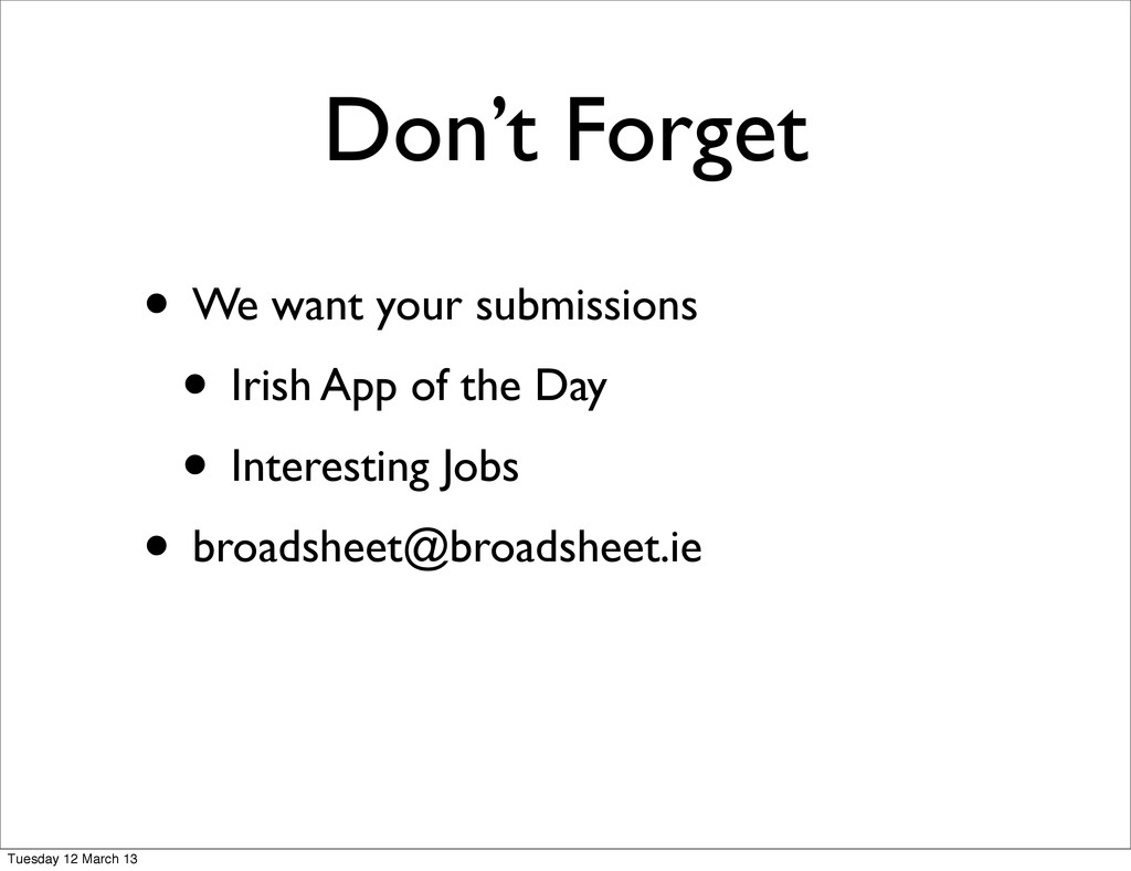 • We want your submissions • Irish App of the D...