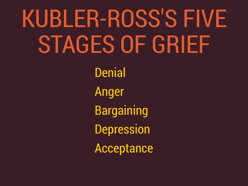 KUBLER-ROSS'S FIVE STAGES OF GRIEF Denial Anger...