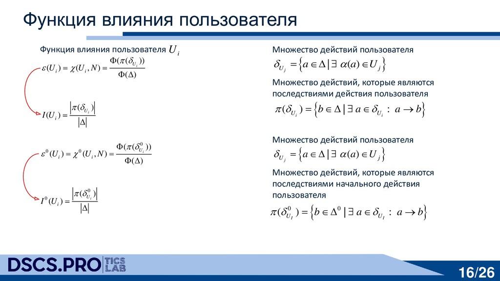 16/26 Функция влияния пользователя Функция влия...